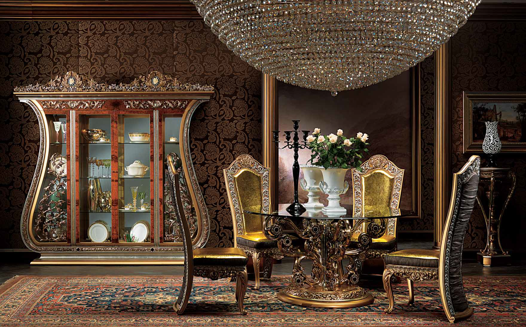 Dining Room Decorated With Brass Details Classical